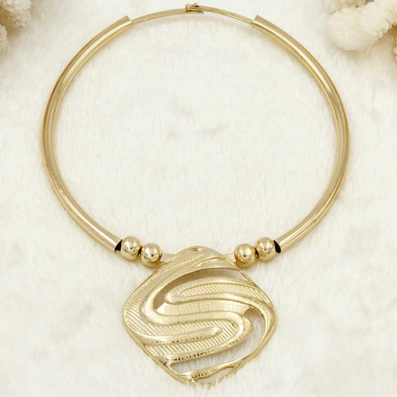 Liffly Mode Braut Schmuck Sets für Frauen Dubai Gold Große Halskette Ohrringe Armband Ring Hochzeit Engagement Schmuck-Set