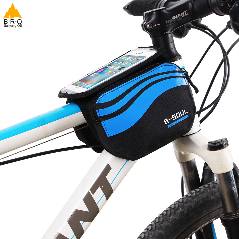 Bicycle Frame Saddle Bag Bike Storage Bag for 5/5.7 Inch Mobile Phone Screen Touch Holder for Outdoor Riding