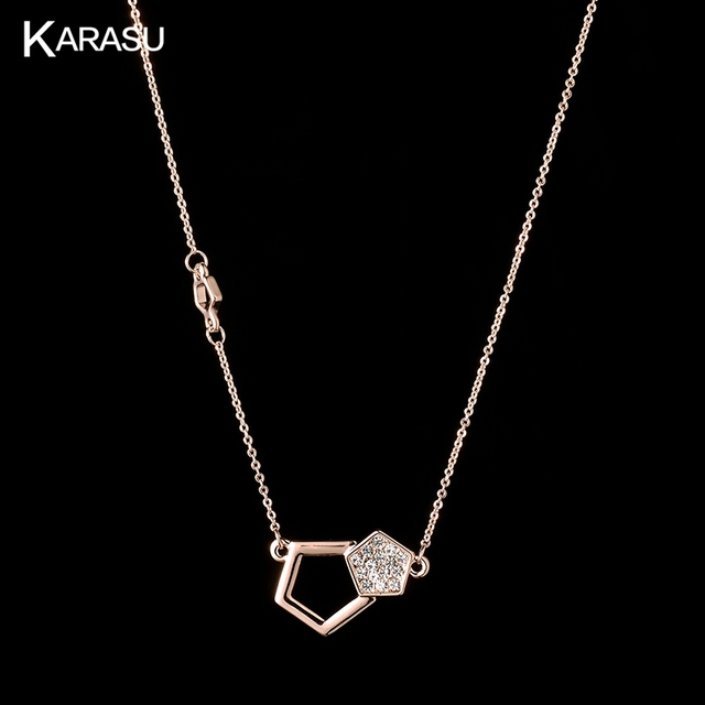 6bc7fd70565 KARASU Simple Rose Gold-color Double Pentagon full Tiny Austrian Crystal  Link Chain Short Necklaces for Women Fashion Jewelry