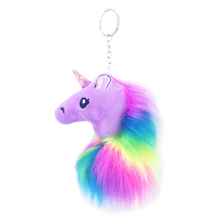 new colored plush unicorn doll hair ball key ring pendant artificial lady bag car for girl gift jewelry accessories