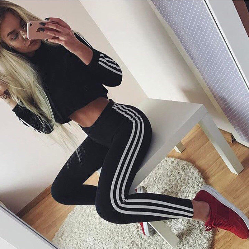 Women 2Pcs Long Sleeve Hooded Short Hoodies & Pants Sets Side Three Striped Wear Casual  Suits