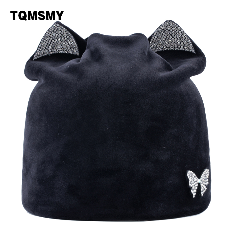 TQMSMY Rhinestone Autumn Winter Knitted Beanies Skullies For Women Outdoor Slouchy Bonnet Casual Cat Ear Velvet Hat Caps TMDH25
