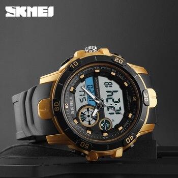 93a916fdf7f 1428 neue Männer Sport Armbanduhren Doppel Zeit Alarm 50 M Wasserdichte  Stoppuhr Uhr Relogio Masculino Outdoor Uhren SKMEI
