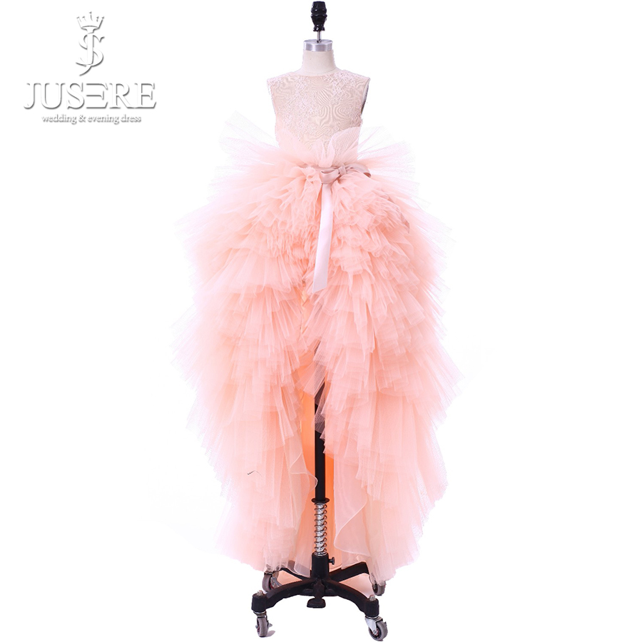Jusere 2019 Real Photos Tiered Skirt Kids Pageant Dresses Lace Bodice Ruffles Dresses High Low Cute Pink Flower Girl Dresses