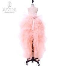 Jusere 2019 fotos reales falda escalonada vestidos de desfile de niños Corpiño de encaje volantes vestidos High Low bonita flor Rosa vestidos de niña