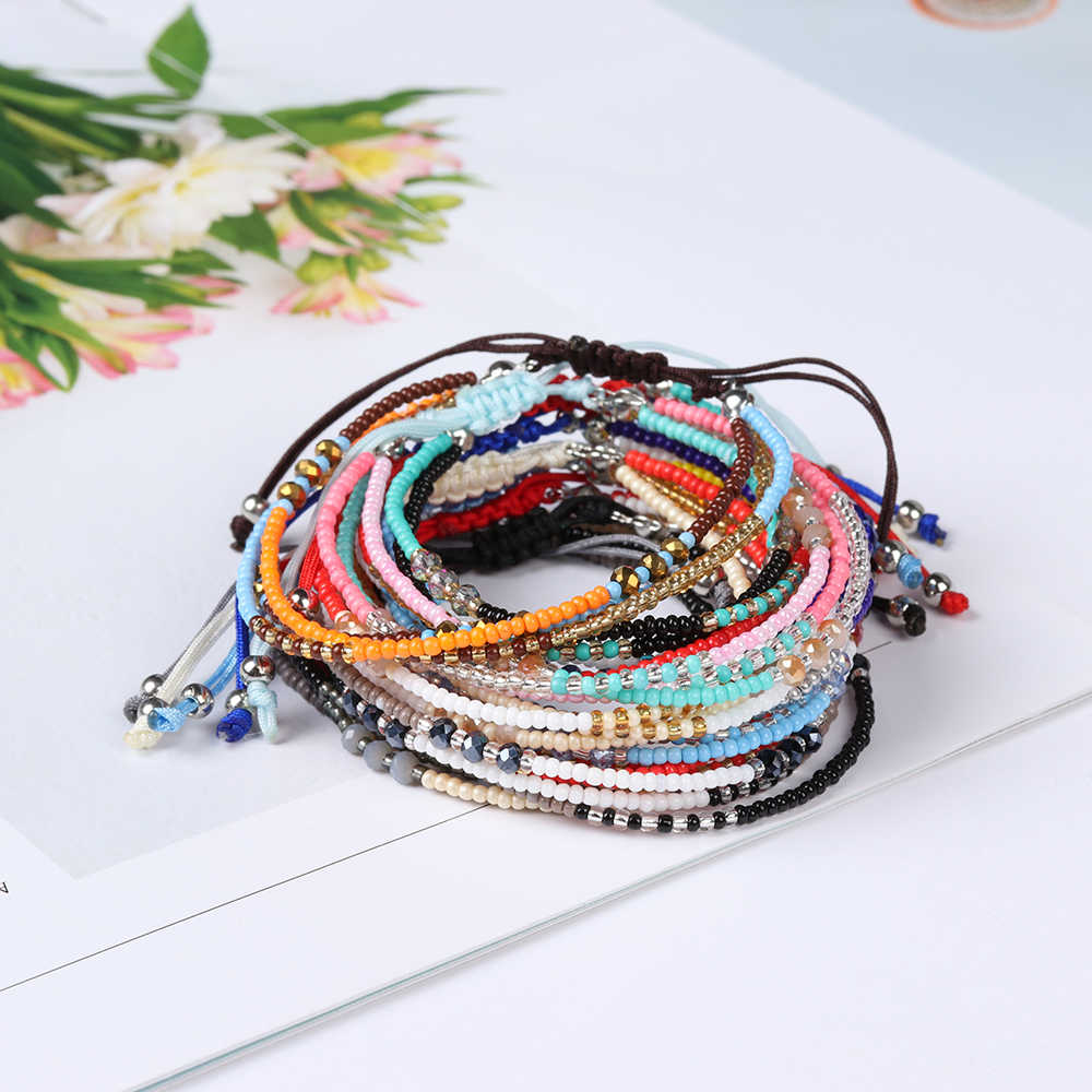 Bohemian Handwoven Multi-layer Colorful Weave Round Beaded Bracelet Retro Rice Adjustable Rope Ethnic Bangles Wholesale Bracelet