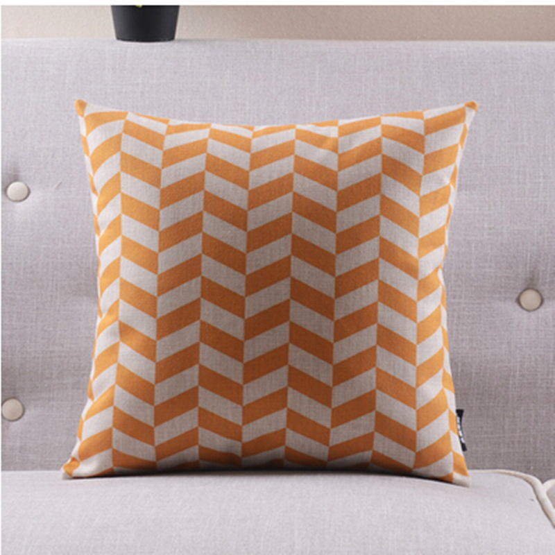 Orange striped Cushions Home Decor soft Cotton Linen Throw Pillow Modern creative Seat Cushion ...