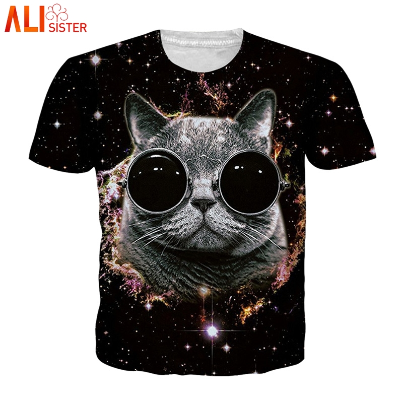 106cbd9f3270 Alisister EUR tamaño gato Camiseta unicornio Tigre 3d Animal estampado  verano Camiseta hombres mujeres divertidas Camisetas