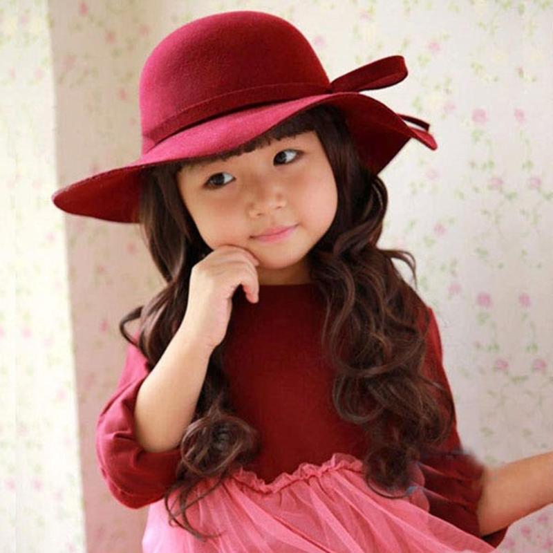 7f6f8552a357e Fashion Autumn Warm Kids Boys Girls Vintage Wide Brim Basin Cap Soft Sun  Court Hat