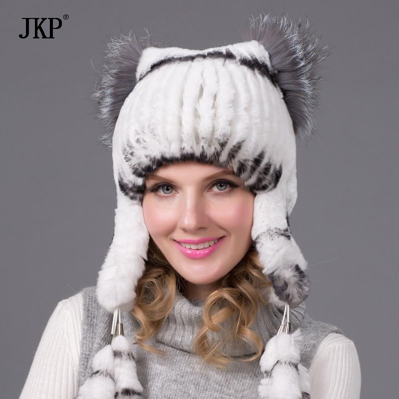 կանայք տաք ձմեռային մորթյա գլխարկ բնական rex նապաստակի մորթյա գլխարկով սիրուն աղվեսի մորթուց ականջի capTHY-35