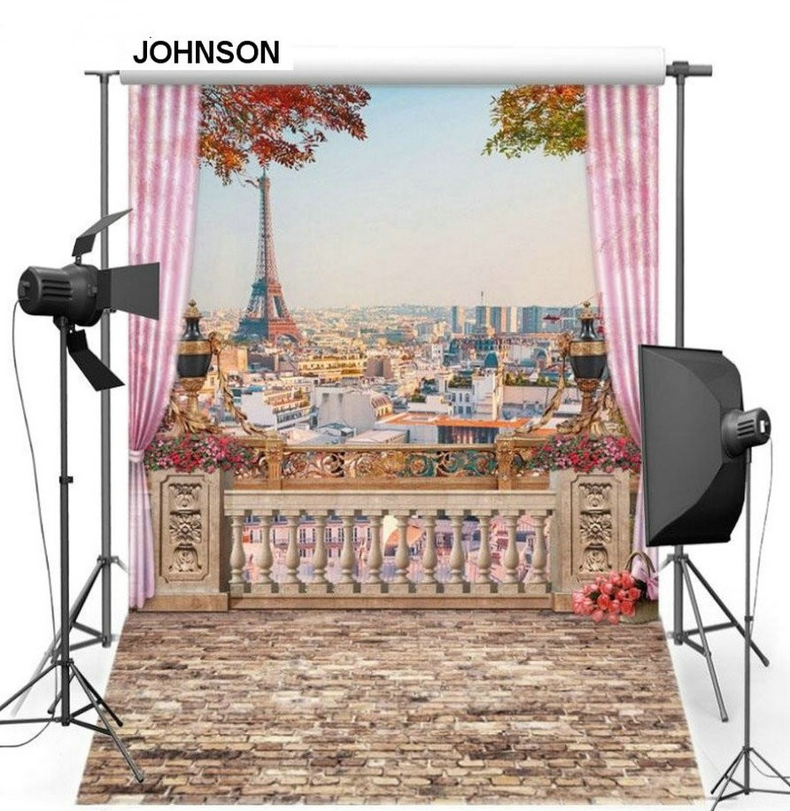 купить France Paris City Skyline themed Eiffel Tower Pink Curtain background Vinyl cloth High quality Computer print wall backdrop недорого