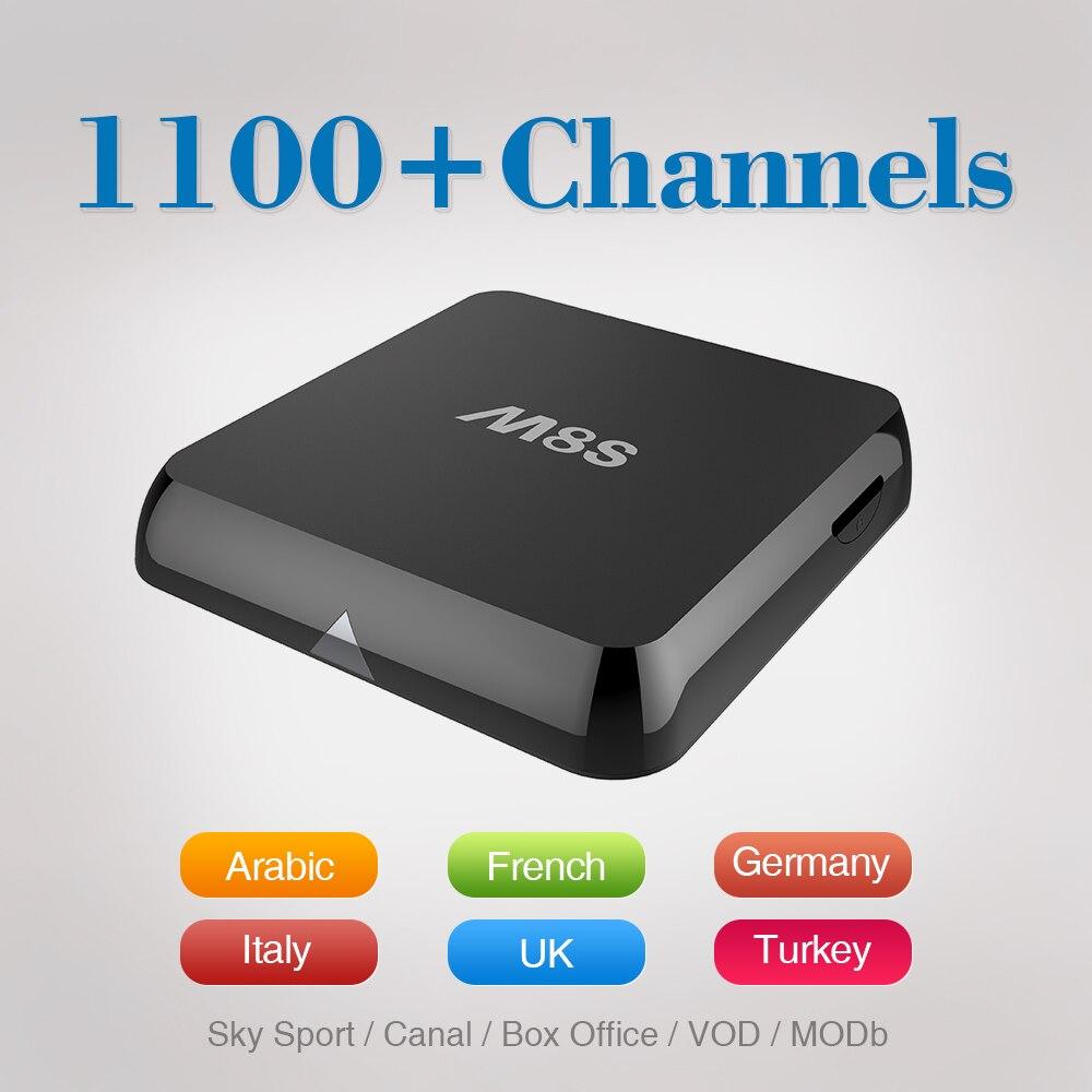 Prix pour M8S Amlogic S812 Android 4.4 Smart TV Box avec Qhdtv Iptv Compte arabe Sport Canal Quad Core 2 GB RAM 8 GB ROM IPTV Set Top boîte