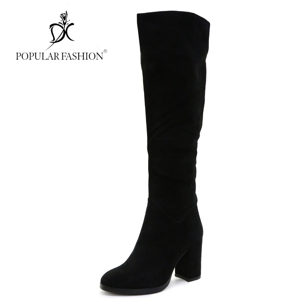 POPULAR FASHION Over The Knee Boots Women Winter Shoes Thick Heel High Knee Boots Ladies Sheep Suede Warm Wool Fur & Plush Botas luxury purple floral highland sheep suede boots cat out flower spring winter over the knee boots women brand shoes nancyjayjii