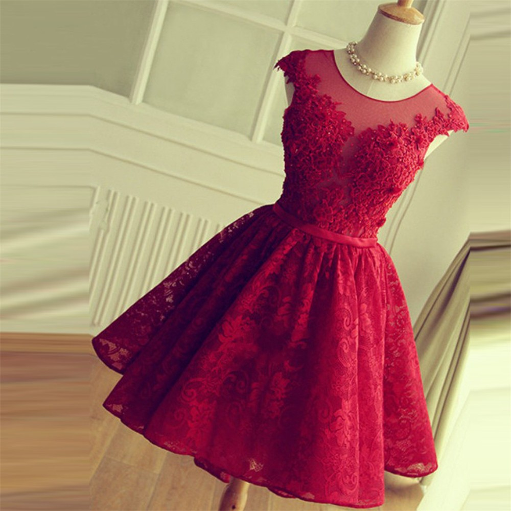 Dark Red Short   Prom     Dress   2018 Lace Beads Plus Size Homecoming Party   Dresses   Open Back Vintage Vestidos de Gala Cap Sleeve
