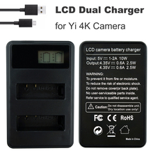 LCD USB Dual YI 4K Charger For xiaomi Yi  Xiao yi 4k Action Camera AZ16-1 Battery chargers xiaoyi II 4k+ Lite Accessories