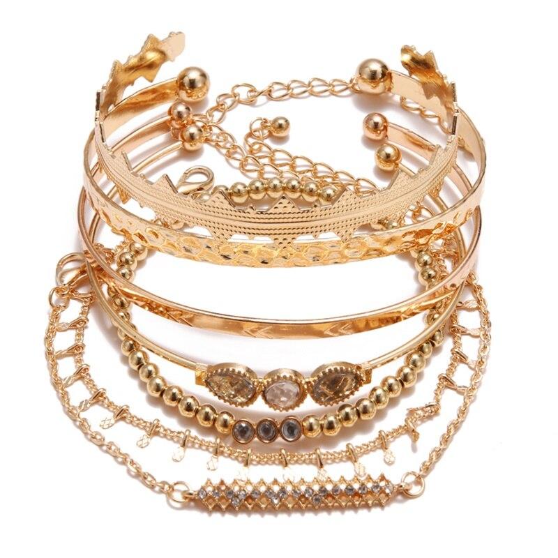 KISSWIFE браслет в стиле бохо ракушка Луна кисточкой браслет для женщин Ретро Геометрические выразительные очаровательные вечерние свадебные ювелирные изделия аксессуары - Окраска металла: KWZJ0459