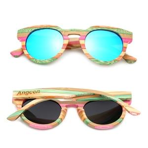 Image 3 - Angcen 100% Bamboo Sunglasses Women Luxury Brand Designer Vintage Ladies Sunglasses Polarized Female Fashion Glasses With Case