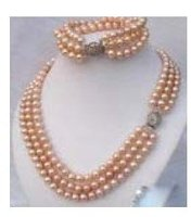 3 Rows Pink Pearl silver clasp Necklace Bracelet & gift