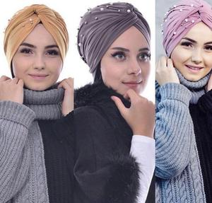 Image 3 - Muslim Women Beads Elastic Turban Hat Chemo Cap Hijab Arab Head Scarf Wrap Cover Beading Headscarf Knot Pleated Cap Hair Loss
