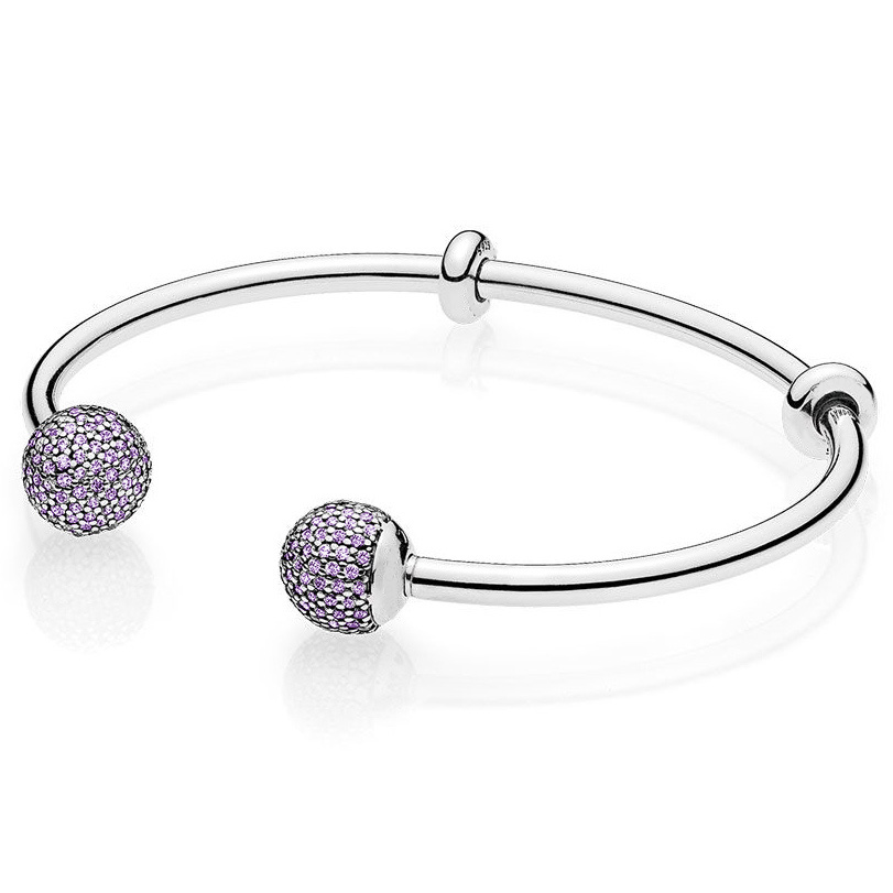 925 Sterling Silver Moments Open Bangle Pave Multicolor Caps With Cubic Zirconia Panodra Bracelet Fit Bead Charm Diy Jewelry slovecabin 2017 new unique moment open bangle bracelet for women 925 sterling silver pave stone open bangle for bead diy jewelry