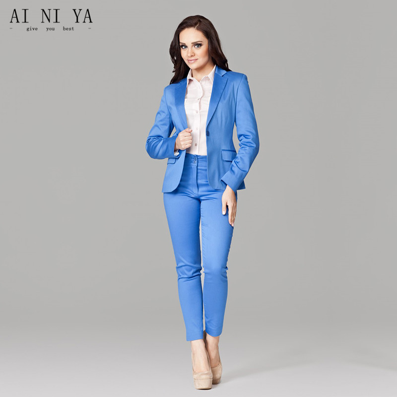 Fine Women Business Suits Blue Women's Pants Suit Slim Fit Suit Jackets With Pants Office Ladies Formal Ol Pants Work Wear Suits
