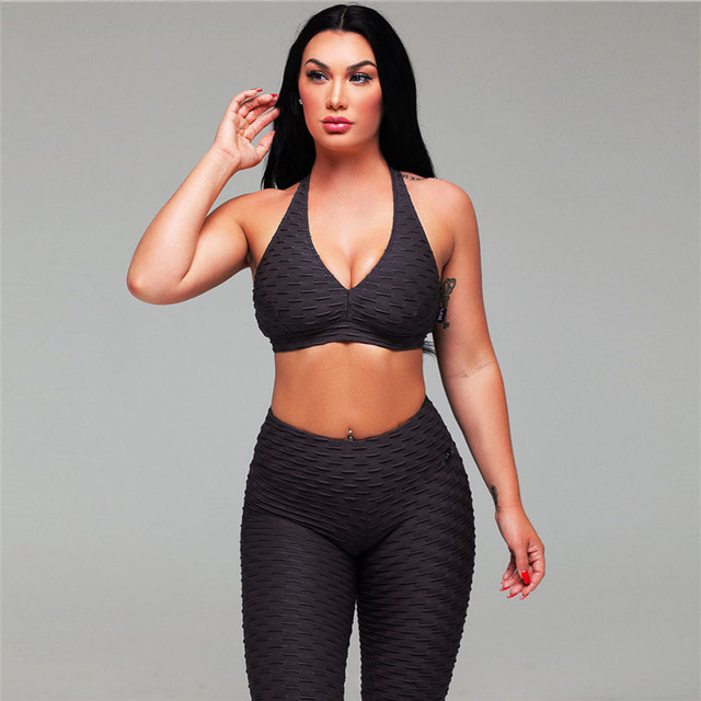 2 Piece Energy Yoga  Sets with Strappy Bra and Leggings