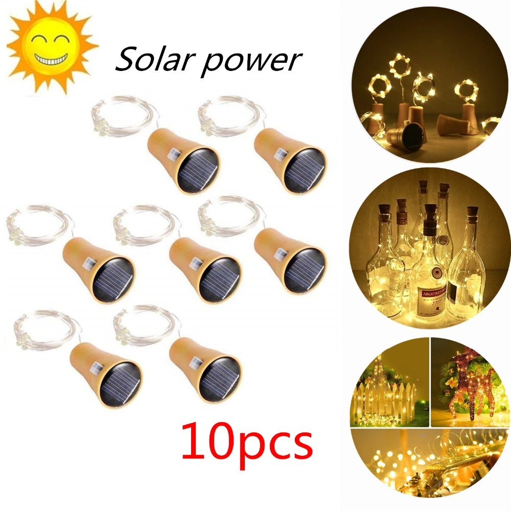 2M 20LED Solar Powered Wine Bottle Cork Shaped LED Copper Wire String Outdoor Light Garland Lights Festival Outdoor Fairy Light
