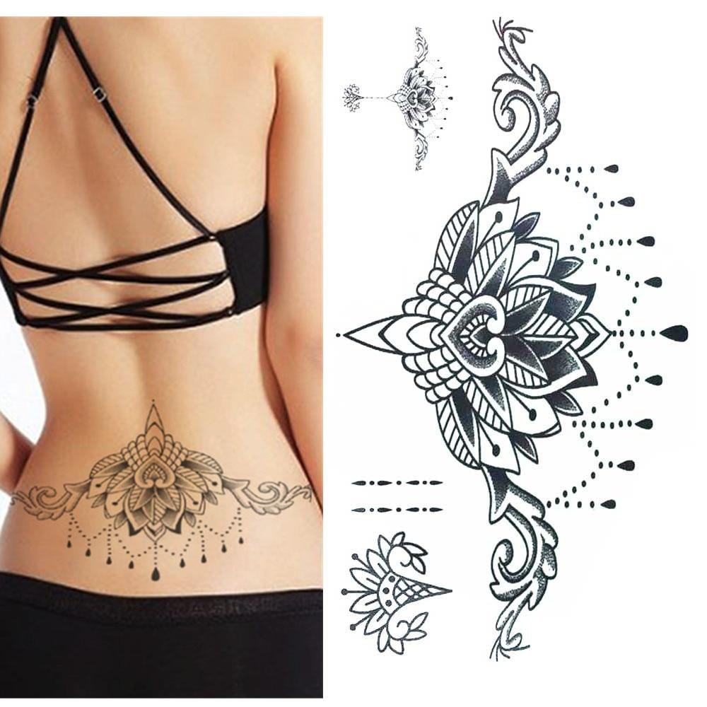 Temporary Tattoo Sticker Large Size Body Art Sketch Flower: TOMTOSH Waterproof Temporary Tattoo Sticker Large Size