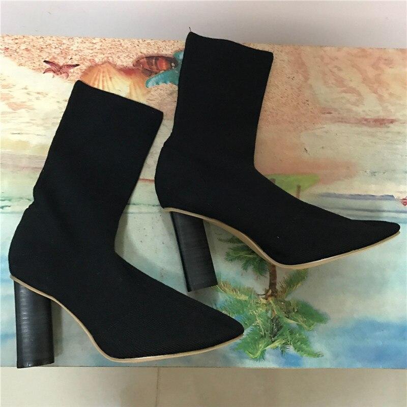 ФОТО Fashion Knit Sock Boots Women High Heel Stretch Ankle Booties 9CM Chunky Heel Botines Mujer Women Pumps Pointed Toe Botas
