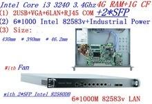 4G RAM 1G CF InteL I3 3240 3.4G 1U firewall server 6*intel 1000M 825853v Gigabit LAN with 2*SFP support ROS RouterOS Mikrotik