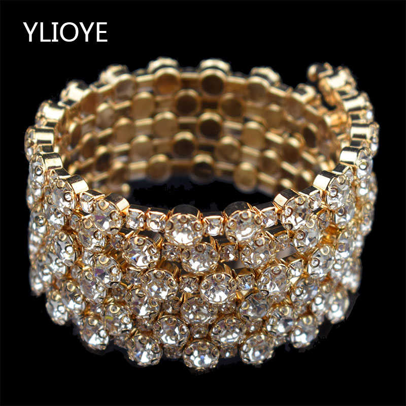Fashion 3/6 rows Crystal gold silver Bracelets & Bangles for Women Rhinestone Stretching Bangle Upper Arm Bracelet jewelry