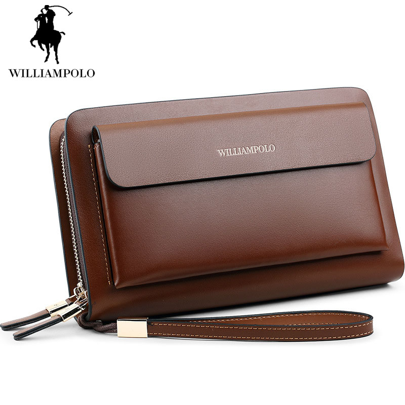 Black Long Wallet Men Double Zipper Wallet Vintage Genuine Leather Handbags Large Capacity Business Mens Clutch Bags Carteira zuoyi crocodile leather original zipper snap multifunctional in large capacity and long wallet
