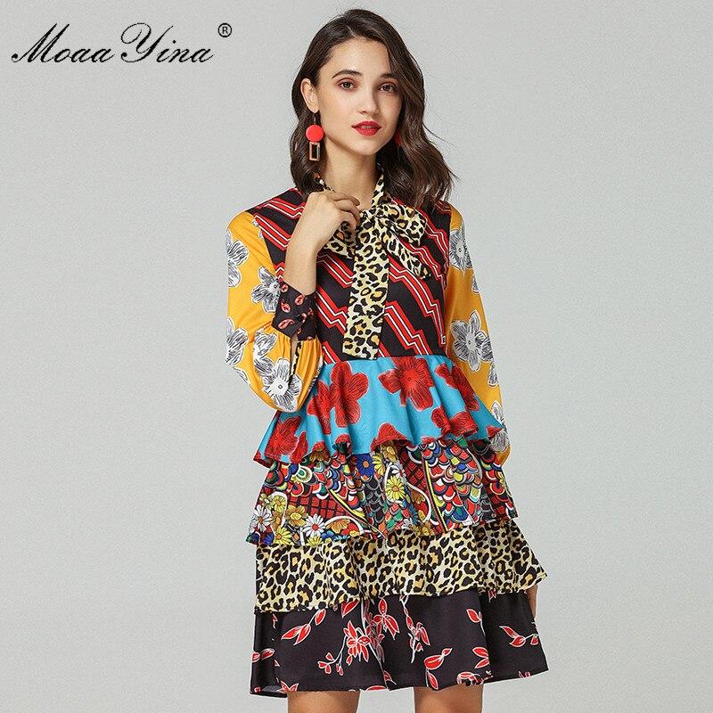 05e7c211975 MoaaYina Fashion Designer Runway Dress Spring Autumn Women Long sleeve Bow  Collar Cascading Ruffle Floral Print