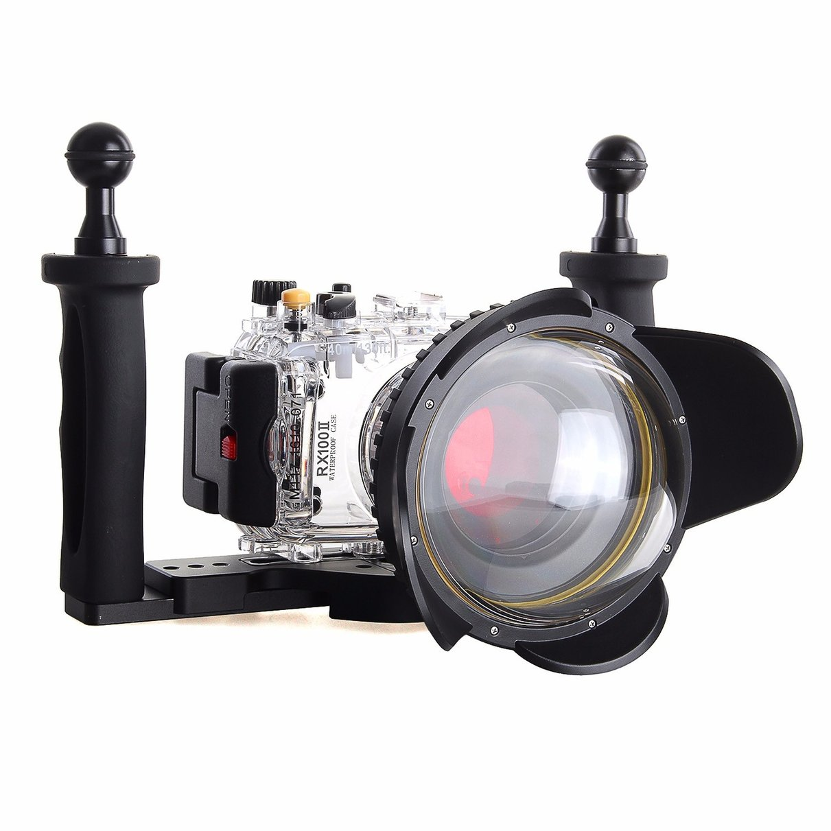 40m Waterproof Underwater Camera Housing Diving Case for SONY RX100 ii + Red Filter + Fisheye Lens + Two Hands Aluminium Tray