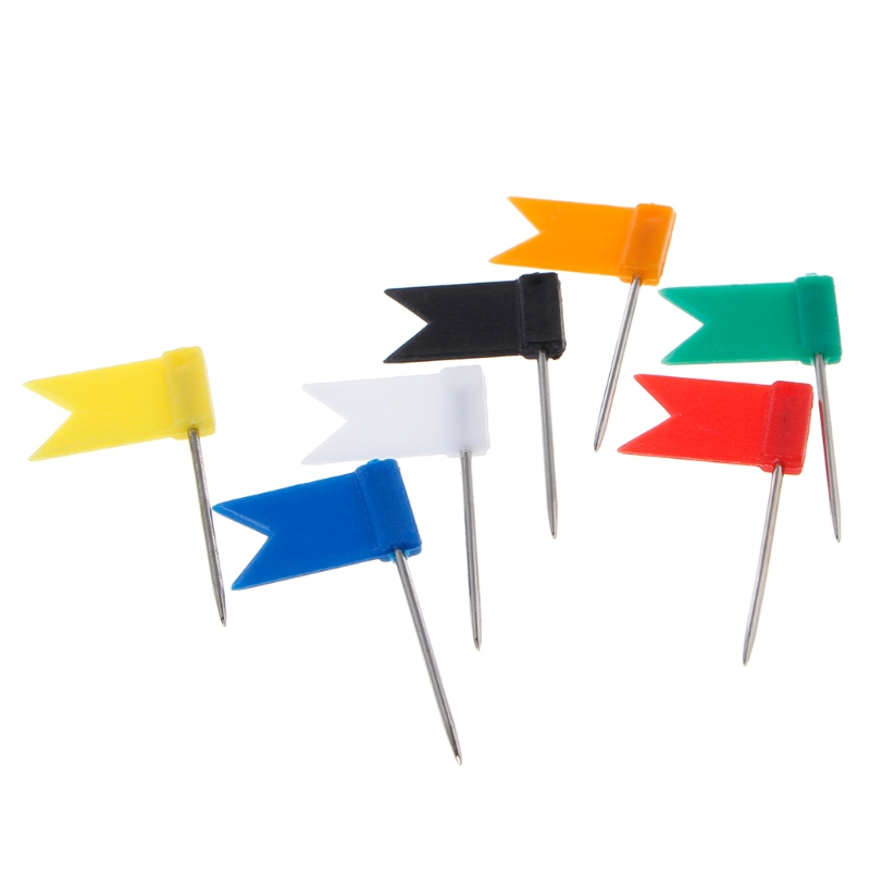 100 Pcs set Mixed Color Flag Push Pins Creative Decorative Map Drawing Board Safety Colored Thumbtack Good Quality Office School in Pin from Office School Supplies