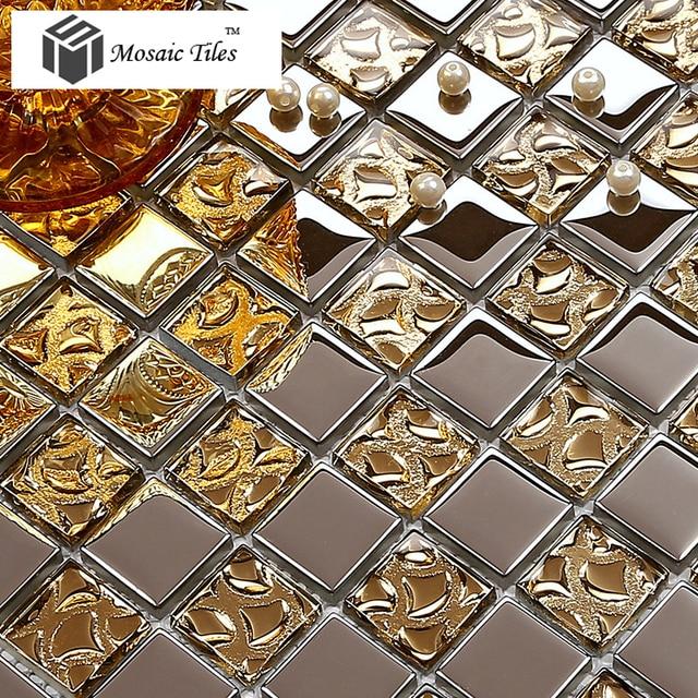 Teilelos Glas Mosaik Fliesen Silber Metallic Gold Küche - Mosaik fliesen metallic