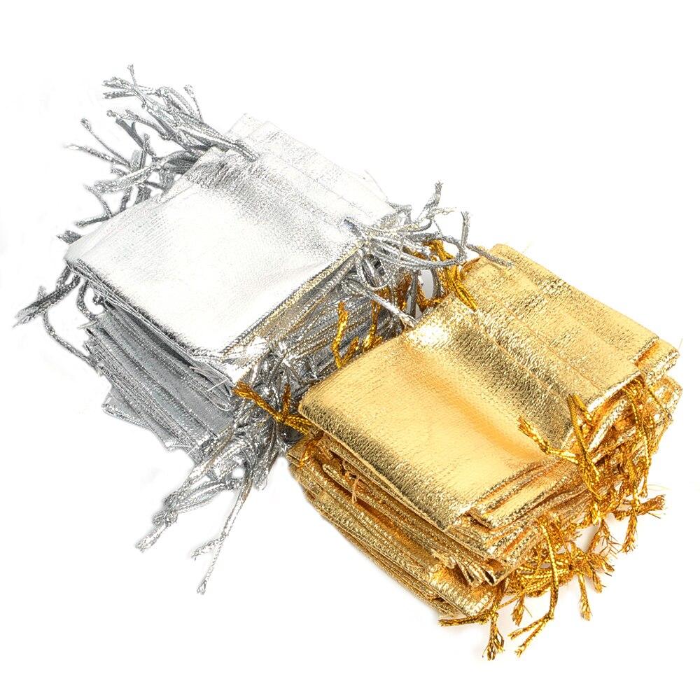 De Bijoux 500Pcs Gold & Silver Color 5.5x7cm Drawstring Organza Bag/Jewelry Pouch Bag,Christmas/Wedding Party Promotion Gift Bag