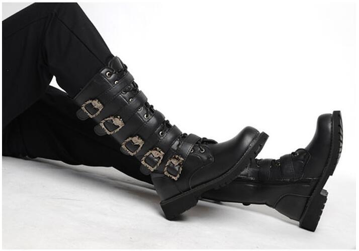 meados de bezerro botas de combate militar