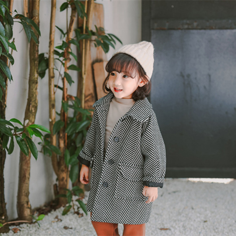 DFXD High Qiality Autumn Winter Kids Boys Girls Long Sleeve Turn Down Collar Striped Wool Coat Fashion Baby Outwear 1-6Y stylish turn down collar long sleeve spliced cape coat for women