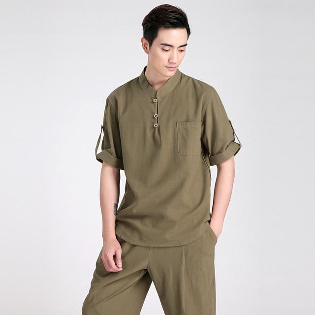 Summer New Fashion Green Tradition Chinese Men's  Cotton Linen Kung-Fu Short Sleeve Shirt Tang Suit  M L XL XXL XXXL 2606