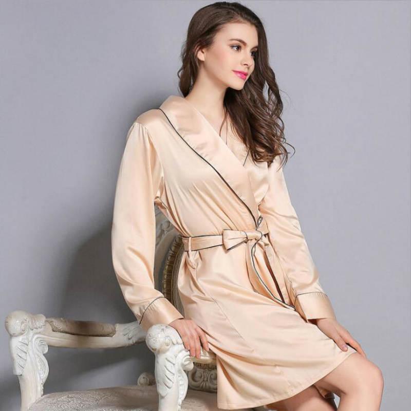 Silk Robe Housing Bathrobe Long Sleeve Nightgown Robe De Chambre Femmes Nuit Shirt Women's Underwear Silk Nightdress Home Wear