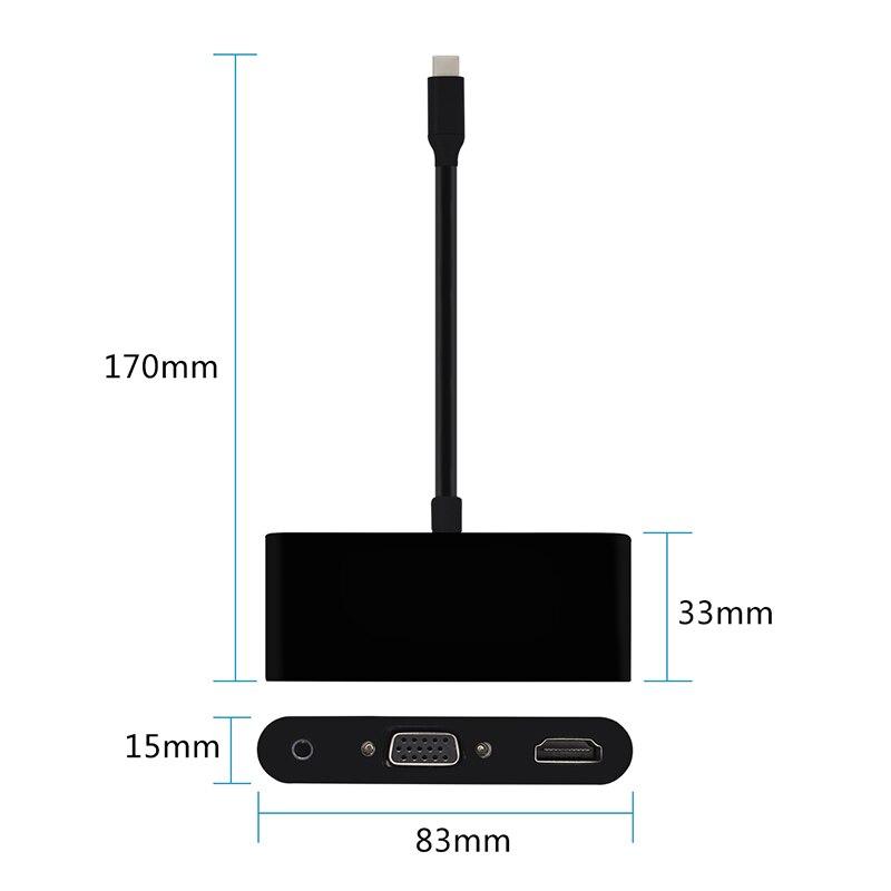 Type C  to USB hub HDMI VGA Adapter 4K Ultra HD for ThinkPad T470 S8 Huawei Mate 10 Mate10 pro, P20,P20 pro, USB 3.0 HDMI