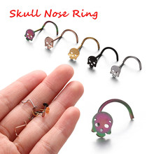 2Pcs Stainless Steel Thin Skull Head Nose Screw Stud Nostril Hoop Tiny Nose Stud Ring Nail Nose Nail Ear Body Piercing Jewelry(China)