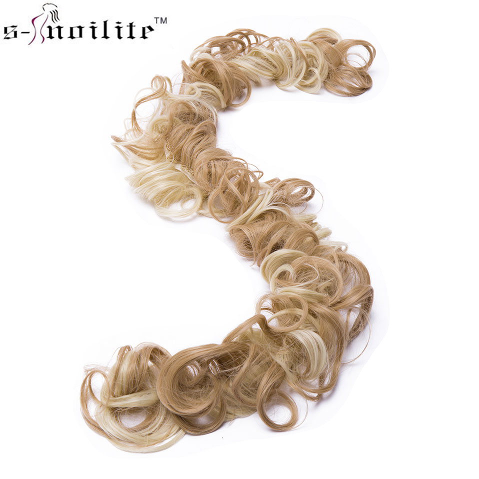 S-noilite Heat Resistant Fiber Women Black Brown Rubber Band Curly Chignon UPDO Synthetic Hairpieces Bun Hair Extension