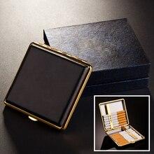 Новая Мода Кожа портсигары для 20 шт. сигарет Высокого качества из нержавеющей стали портсигар сигареты инструменты CB01(China (Mainland))