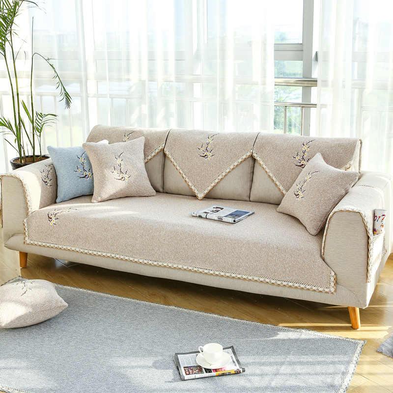 Piece Linen Sofa Cover Towel Anti Skid