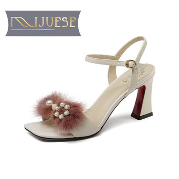 MLJUESE 2018 women sandals Genuine leather ankle strap pink color pearls hair peep toe high heels pumps women size 33-43