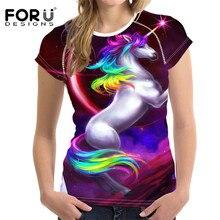 FORUDESIGNS Unicorn 3D Woman T-shirts,Cute Cartoon Women Tops Summer Ladies Tshirt,Funny Plus Size Tee Short Sleeved XL Harajuku