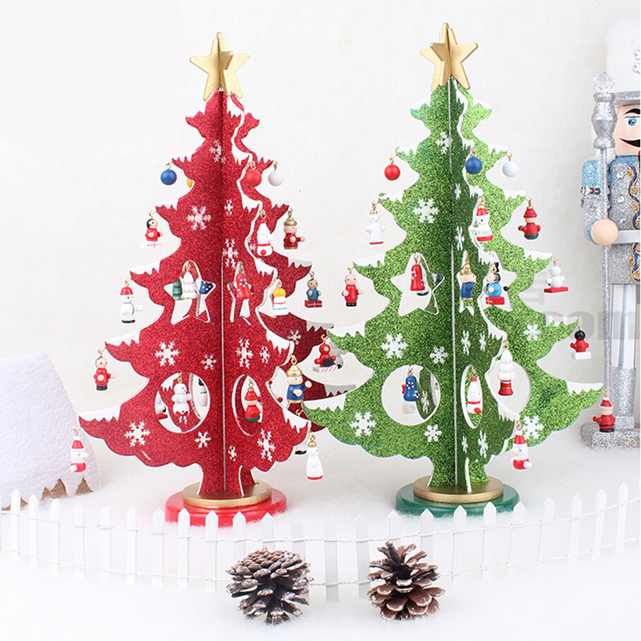 Wooden christmas ornaments to make and sell - Hot Selling Diy Wood Christmas Tree New Creative Gifts Cartoon Christmas Decorations Table Desk Xmas