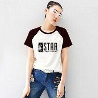 Loose Style Anime The Flash Star Labs Womens Black White Raglan Short Sleeve Letter Print T